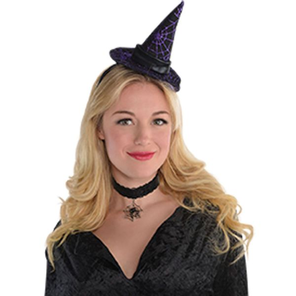 Adults Hdbnd Witch Hat Ladies Halloween Fancy Dress Outfit Accessory